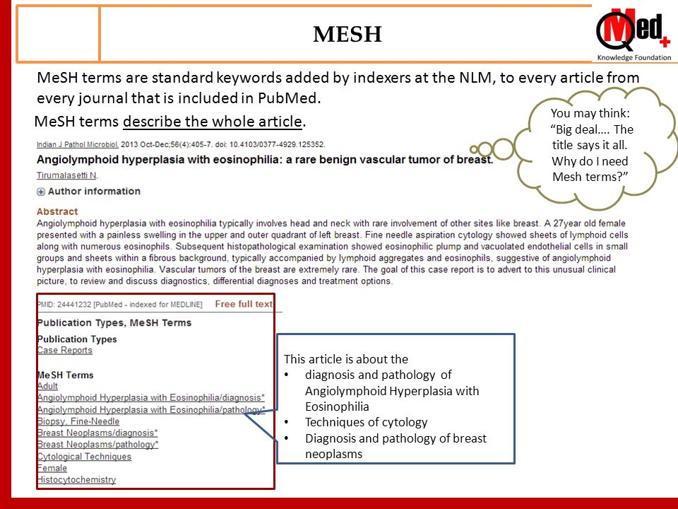 MeSH terms are standard keywords added by indexers at the NLM, to every article from every journal that is included in PubMed.