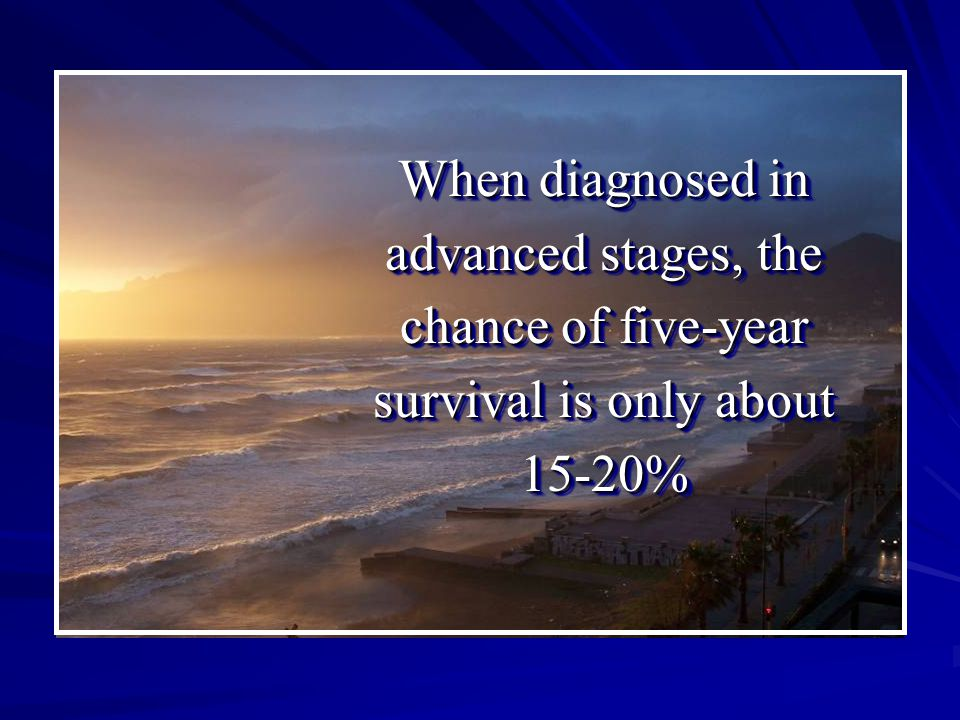 When diagnosed in advanced stages, the chance of five-year survival is only about 15-20%