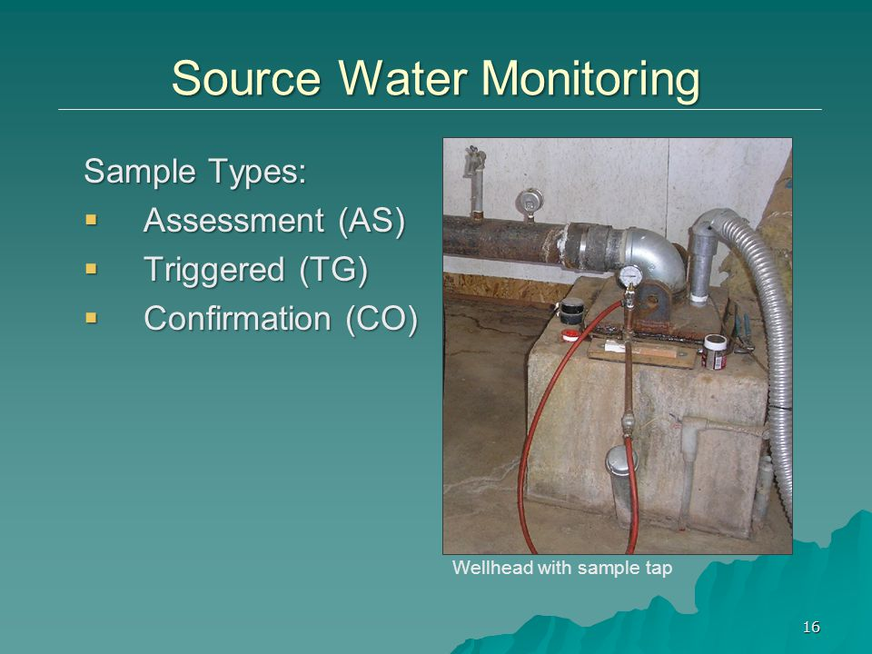 Sample Types:  Assessment (AS)  Triggered (TG)  Confirmation (CO) Wellhead with sample tap 16 Source Water Monitoring