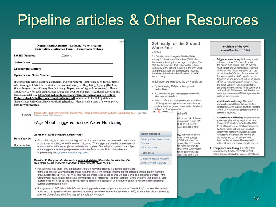 Pipeline articles & Other Resources 52