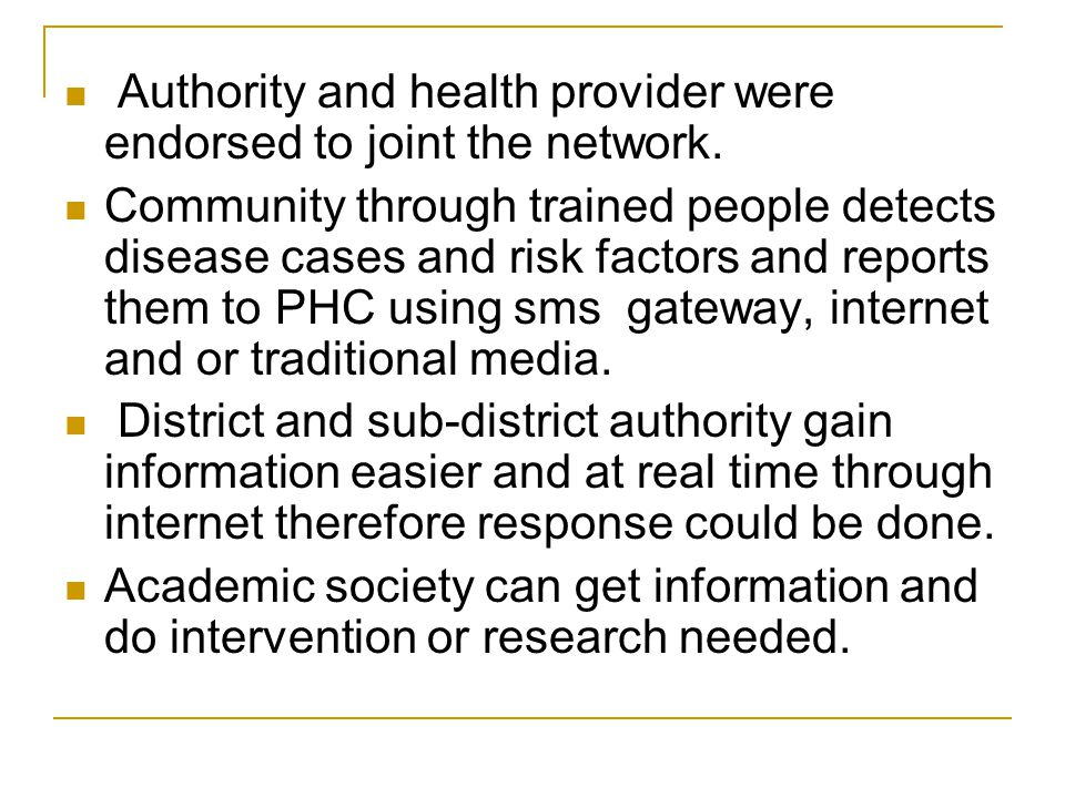 Authority and health provider were endorsed to joint the network.