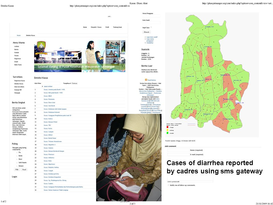 Cases of diarrhea reported by cadres using sms gateway