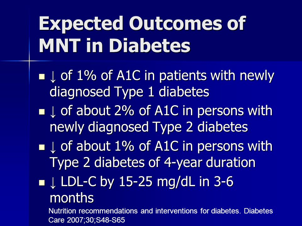 Expected Outcomes of MNT in Diabetes ↓ of 1% of A1C in patients with newly diagnosed Type 1 diabetes ↓ of 1% of A1C in patients with newly diagnosed Type 1 diabetes ↓ of about 2% of A1C in persons with newly diagnosed Type 2 diabetes ↓ of about 2% of A1C in persons with newly diagnosed Type 2 diabetes ↓ of about 1% of A1C in persons with Type 2 diabetes of 4-year duration ↓ of about 1% of A1C in persons with Type 2 diabetes of 4-year duration ↓ LDL-C by 15-25 mg/dL in 3-6 months ↓ LDL-C by 15-25 mg/dL in 3-6 months Nutrition recommendations and interventions for diabetes.