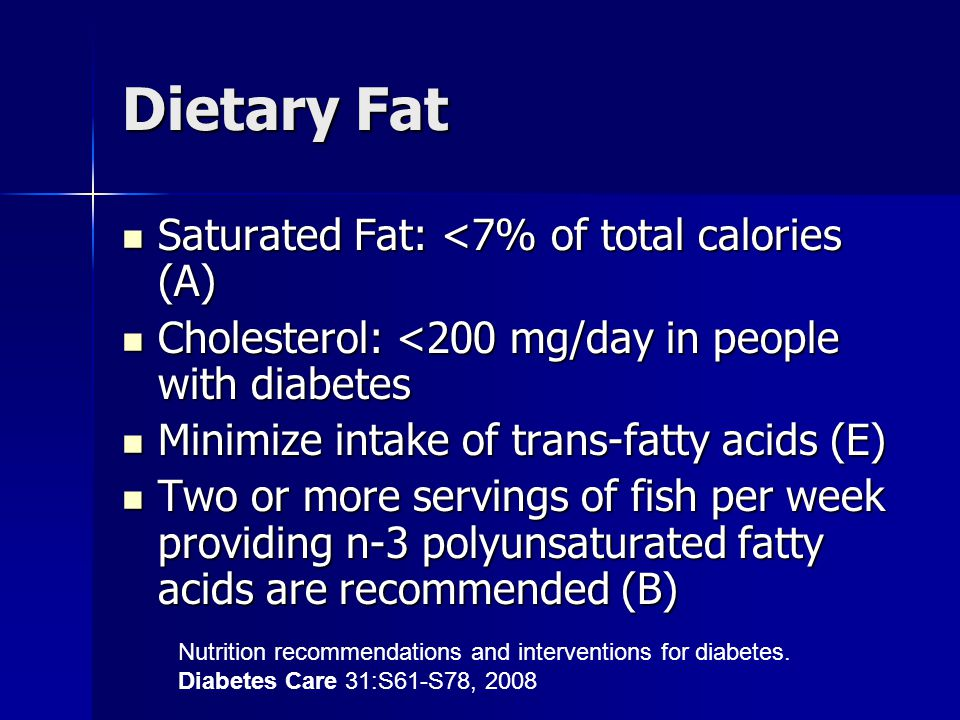 Dietary Fat Saturated Fat: <7% of total calories (A) Saturated Fat: <7% of total calories (A) Cholesterol: <200 mg/day in people with diabetes Cholest