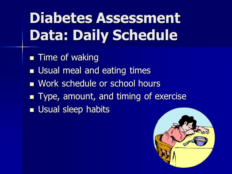 Diabetes Assessment Data: Daily Schedule Time of waking Time of waking Usual meal and eating times Usual meal and eating times Work schedule or school hours Work schedule or school hours Type, amount, and timing of exercise Type, amount, and timing of exercise Usual sleep habits Usual sleep habits