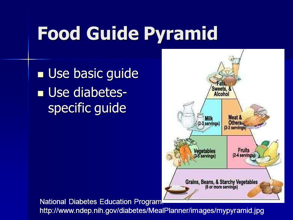 Food Guide Pyramid Use basic guide Use basic guide Use diabetes- specific guide Use diabetes- specific guide National Diabetes Education Program. http