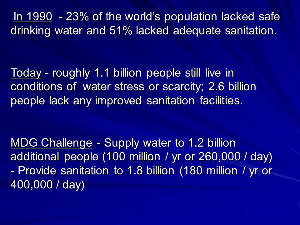 In 1990 - 23% of the world's population lacked safe drinking water and 51% lacked adequate sanitation.