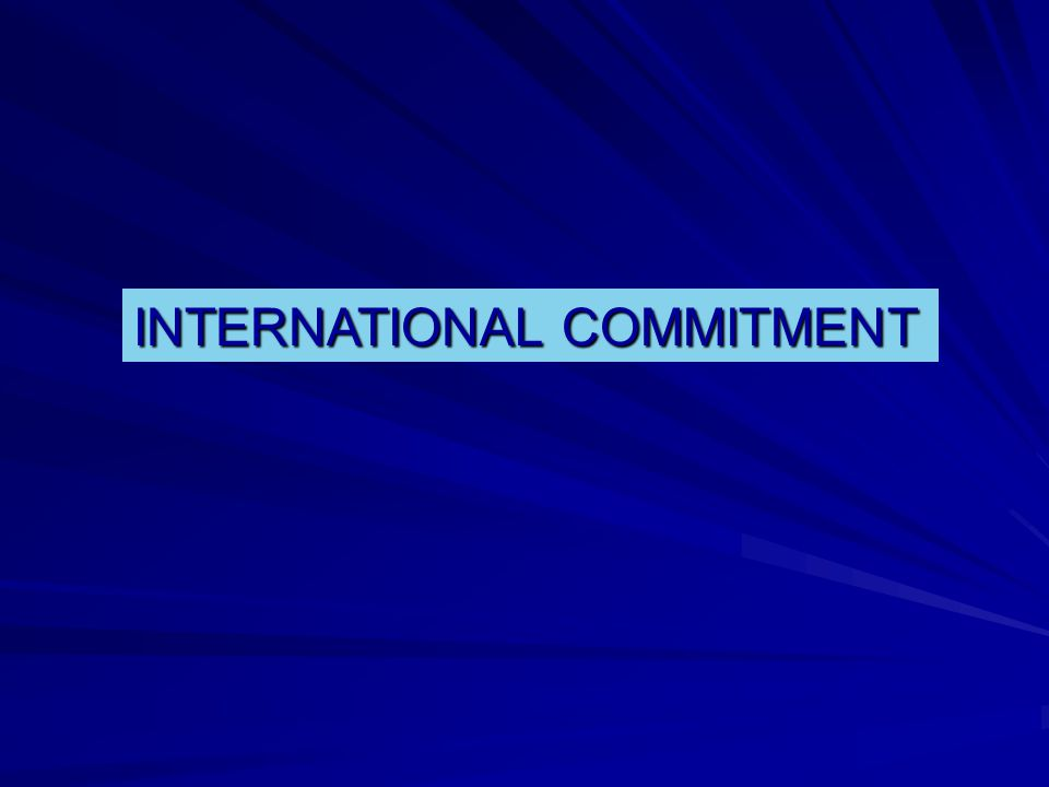 INTERNATIONAL COMMITMENT