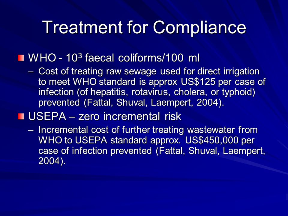 Treatment for Compliance WHO - 10 3 faecal coliforms/100 ml –Cost of treating raw sewage used for direct irrigation to meet WHO standard is approx US$