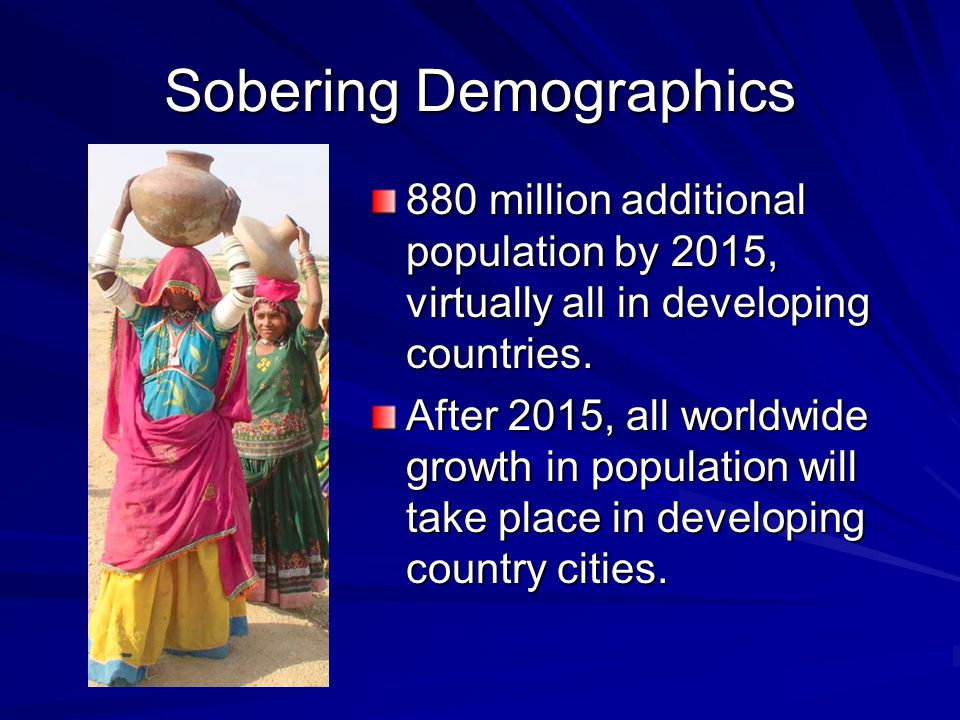 Sobering Demographics 880 million additional population by 2015, virtually all in developing countries. After 2015, all worldwide growth in population