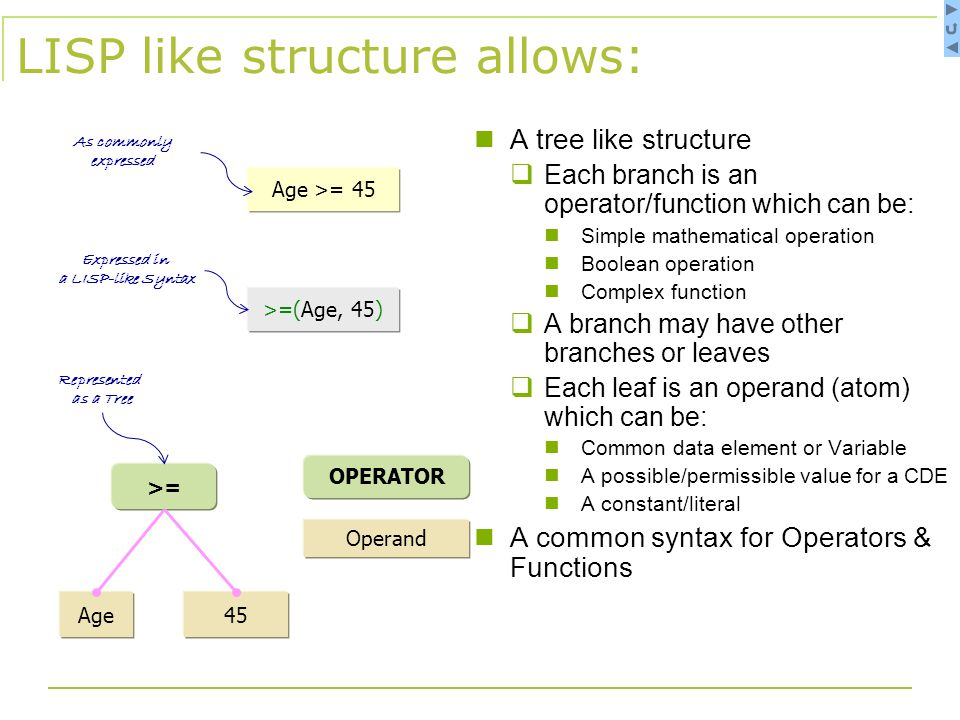 LISP like structure allows: A tree like structure  Each branch is an operator/function which can be: Simple mathematical operation Boolean operation Complex function  A branch may have other branches or leaves  Each leaf is an operand (atom) which can be: Common data element or Variable A possible/permissible value for a CDE A constant/literal A common syntax for Operators & Functions 45Age >= Operand OPERATOR Age >= 45 >=(Age, 45) Expressed in a LISP-like Syntax As commonly expressed Represented as a Tree