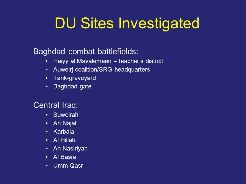 DU Sites Investigated Baghdad combat battlefields: Haiyy al Mavalemeen – teacher's district Auweirj coalition/SRG headquarters Tank-graveyard Baghdad