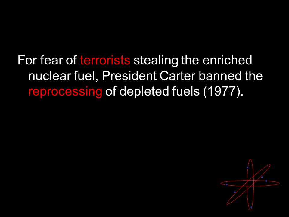 For fear of terrorists stealing the enriched nuclear fuel, President Carter banned the reprocessing of depleted fuels (1977).