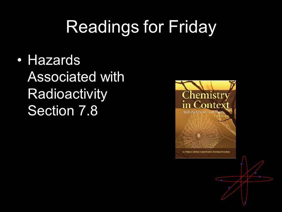 Readings for Friday Hazards Associated with Radioactivity Section 7.8