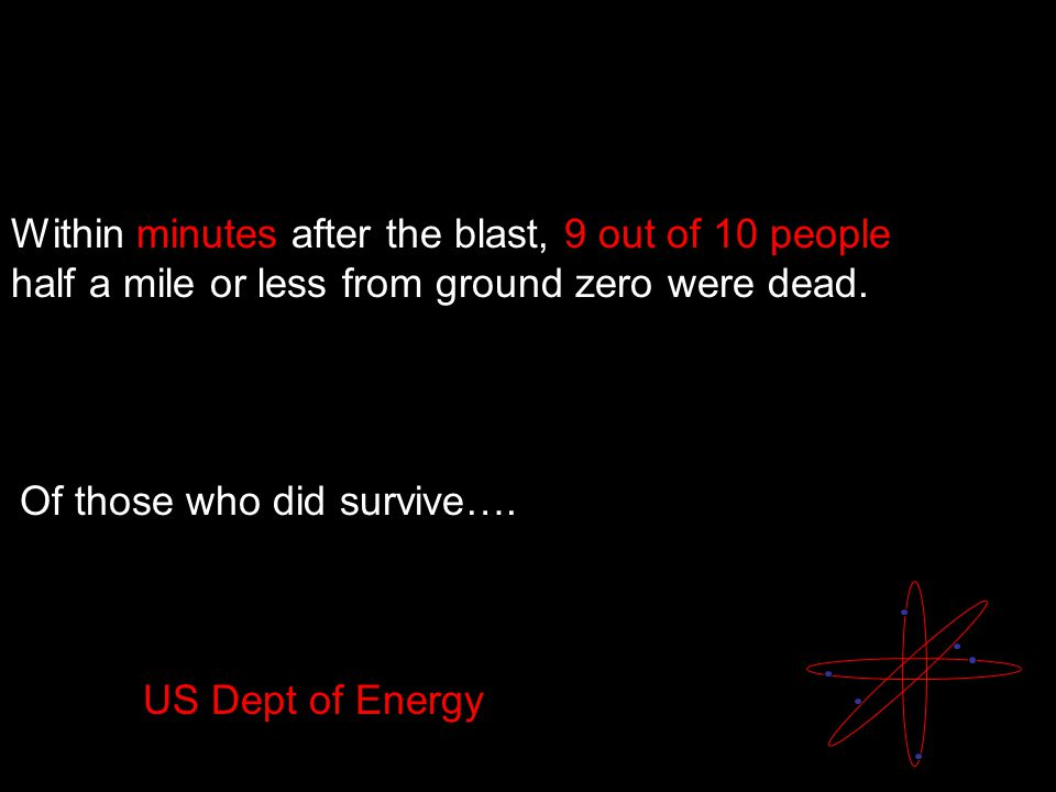 Within minutes after the blast, 9 out of 10 people half a mile or less from ground zero were dead.