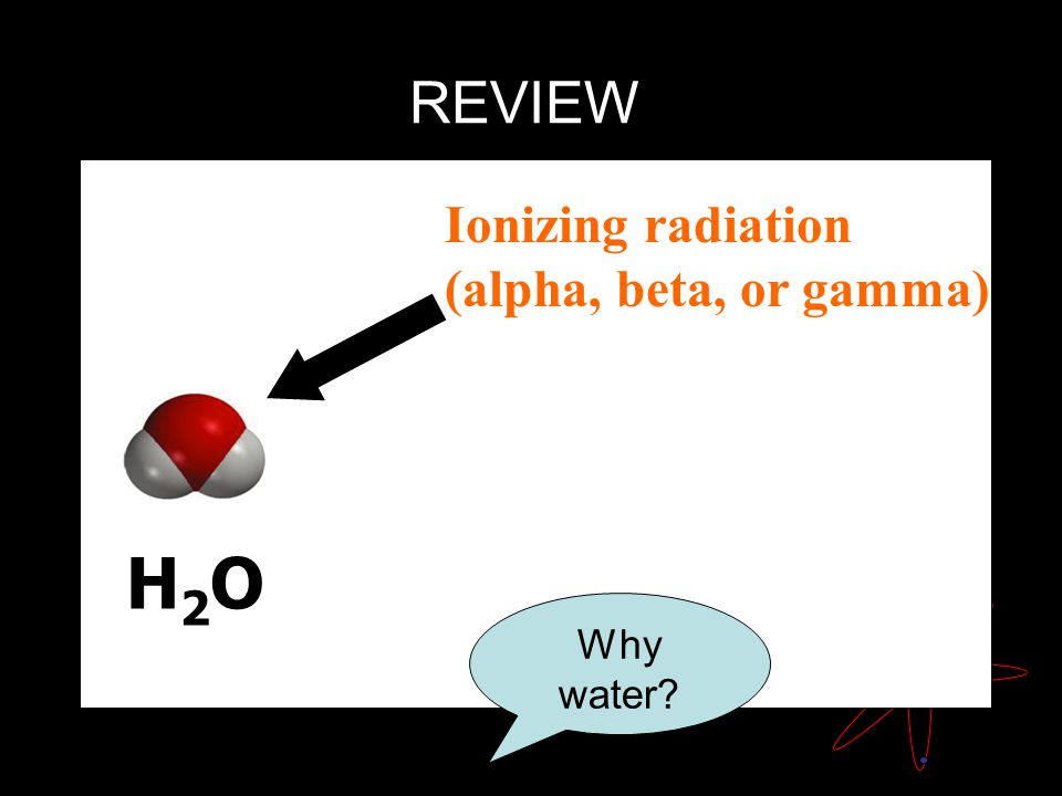 H2OH2O Ionizing radiation (alpha, beta, or gamma) REVIEW Why water?