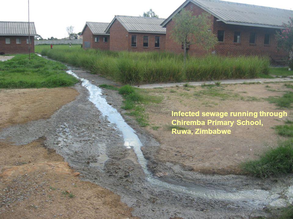 Infected sewage running through Chiremba Primary School, Ruwa, Zimbabwe