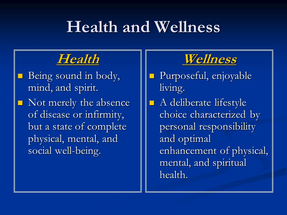 Health and Wellness Health Being sound in body, mind, and spirit.