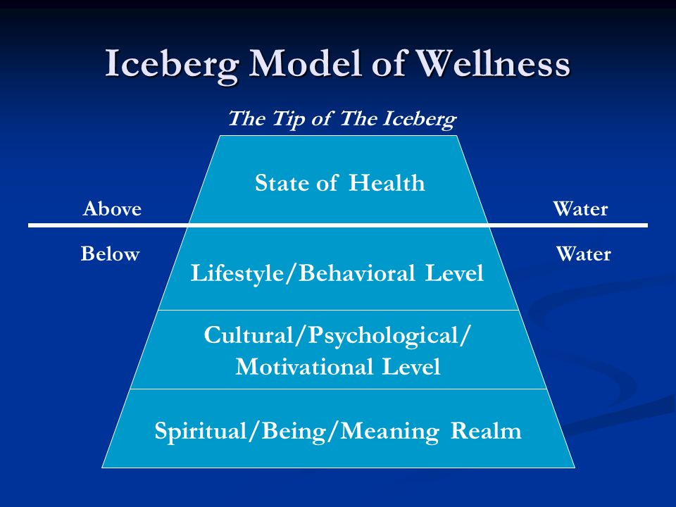 Iceberg Model of Wellness State of Health Lifestyle/Behavioral Level Cultural/Psychological/ Motivational Level Spiritual/Being/Meaning Realm The Tip of The Iceberg Above Water Below Water