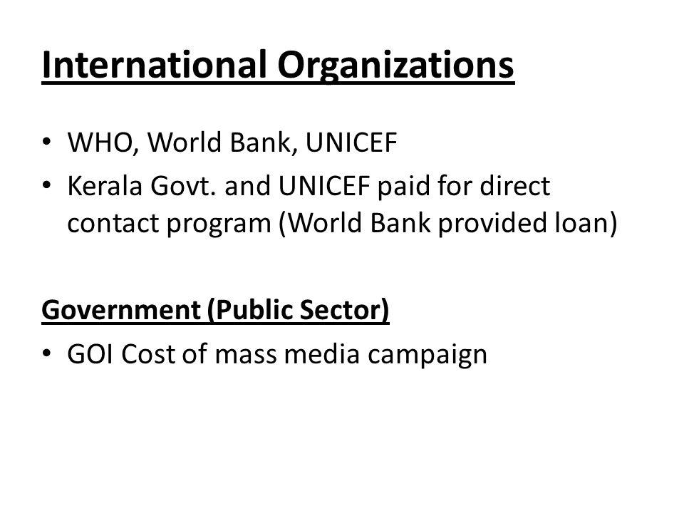 International Organizations WHO, World Bank, UNICEF Kerala Govt.