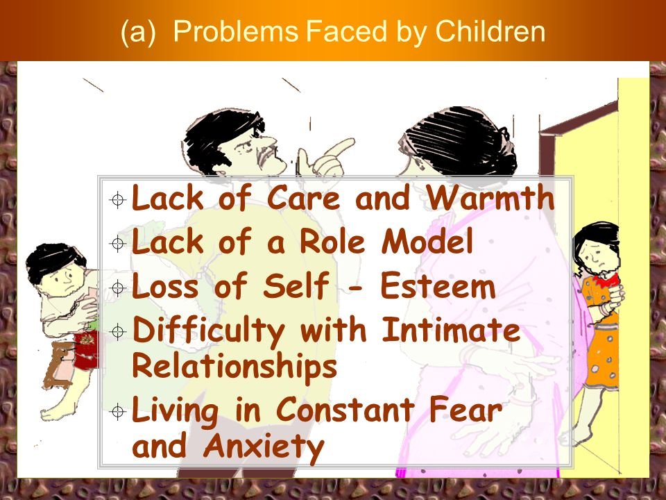 IMPACT ON CHILDREN a) Problems Faced by Children b) The Self-imposed Commands (the Self-protection Roles) c) Guidelines to Parents