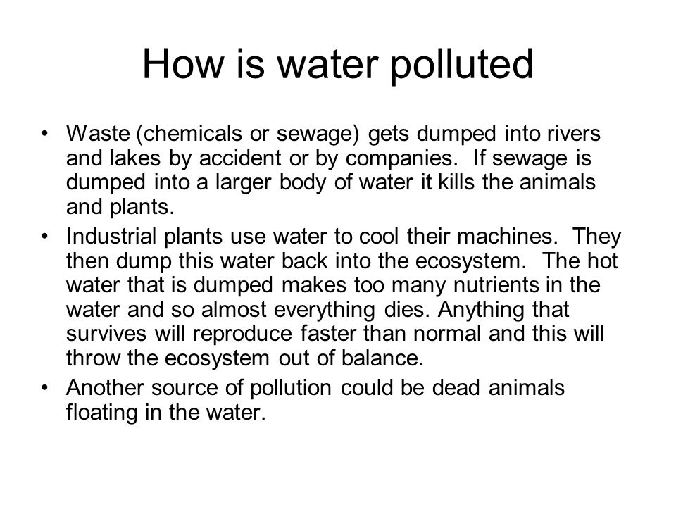 How is water polluted Waste (chemicals or sewage) gets dumped into rivers and lakes by accident or by companies.