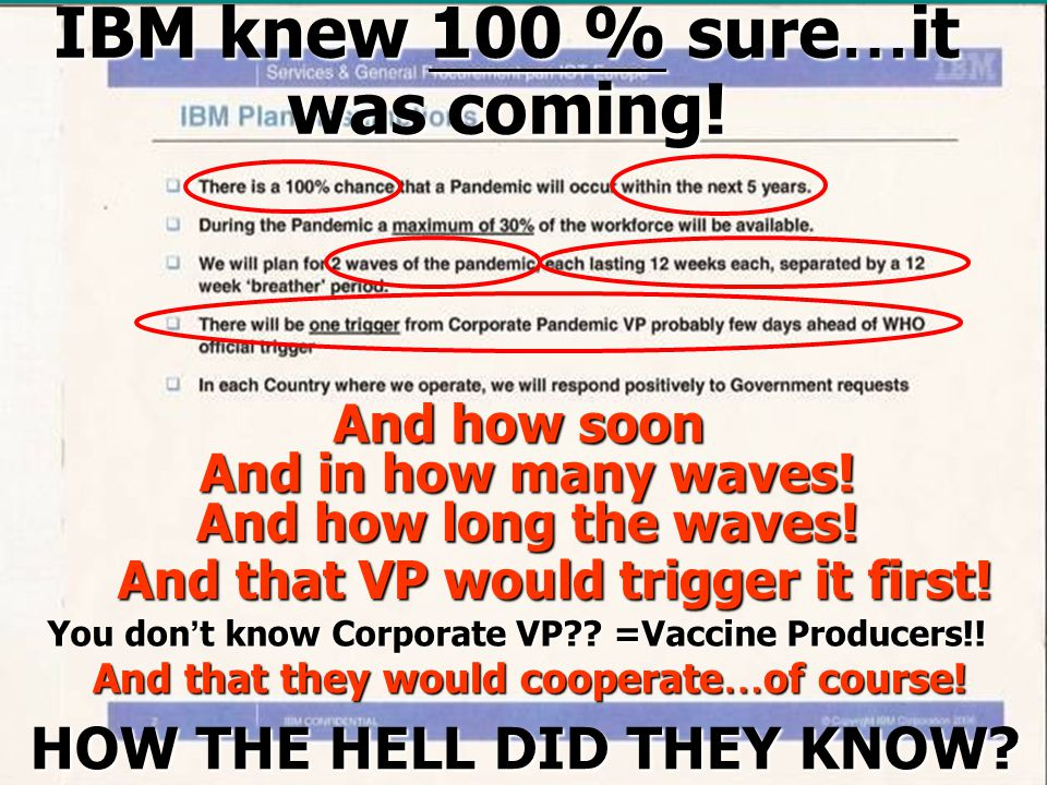 IBM knew 100 % sure…it was coming. And how soon And in how many waves.