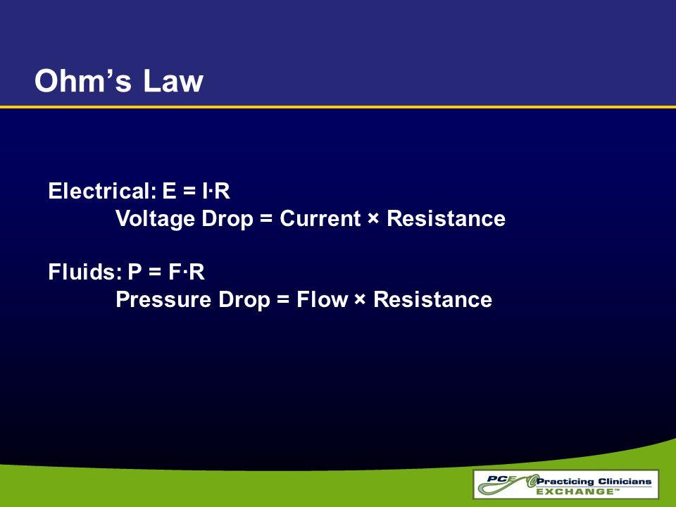 Ohm's Law Electrical: E = I·R Voltage Drop = Current × Resistance Fluids: P = F·R Pressure Drop = Flow × Resistance