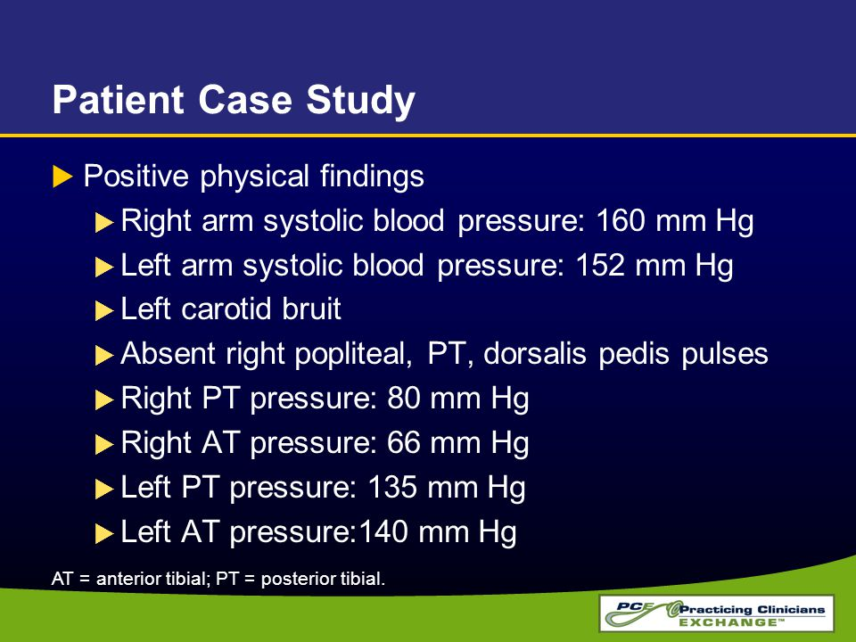 Patient Case Study  Positive physical findings  Right arm systolic blood pressure: 160 mm Hg  Left arm systolic blood pressure: 152 mm Hg  Left ca