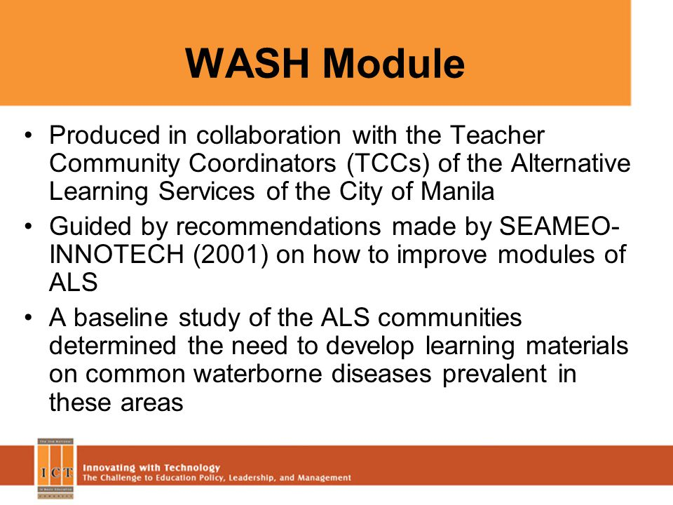 WASH Module Produced in collaboration with the Teacher Community Coordinators (TCCs) of the Alternative Learning Services of the City of Manila Guided