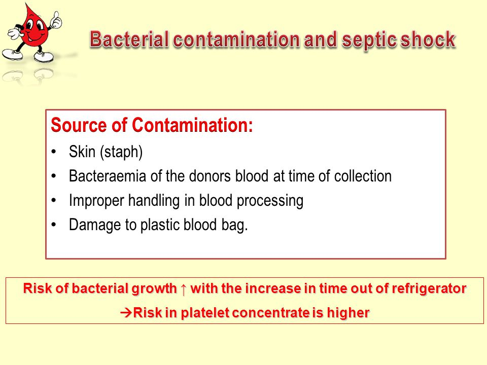 Risk of bacterial growth ↑ with the increase in time out of refrigerator  Risk in platelet concentrate is higher