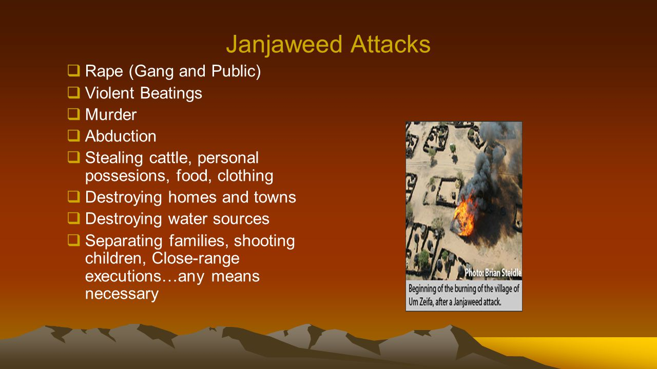 Janjaweed Attacks  Rape (Gang and Public)  Violent Beatings  Murder  Abduction  Stealing cattle, personal possesions, food, clothing  Destroying