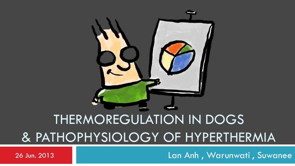 THERMOREGULATION IN DOGS & PATHOPHYSIOLOGY OF HYPERTHERMIA Lan Anh, Warunwati, Suwanee 26 Jun. 2013