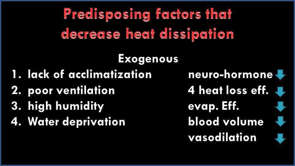 Exogenous 1.lack of acclimatizationneuro-hormone 2.poor ventilation4 heat loss eff.