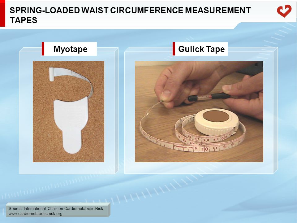 Source: International Chair on Cardiometabolic Risk www.cardiometabolic-risk.org SPRING-LOADED WAIST CIRCUMFERENCE MEASUREMENT TAPES MyotapeGulick Tape