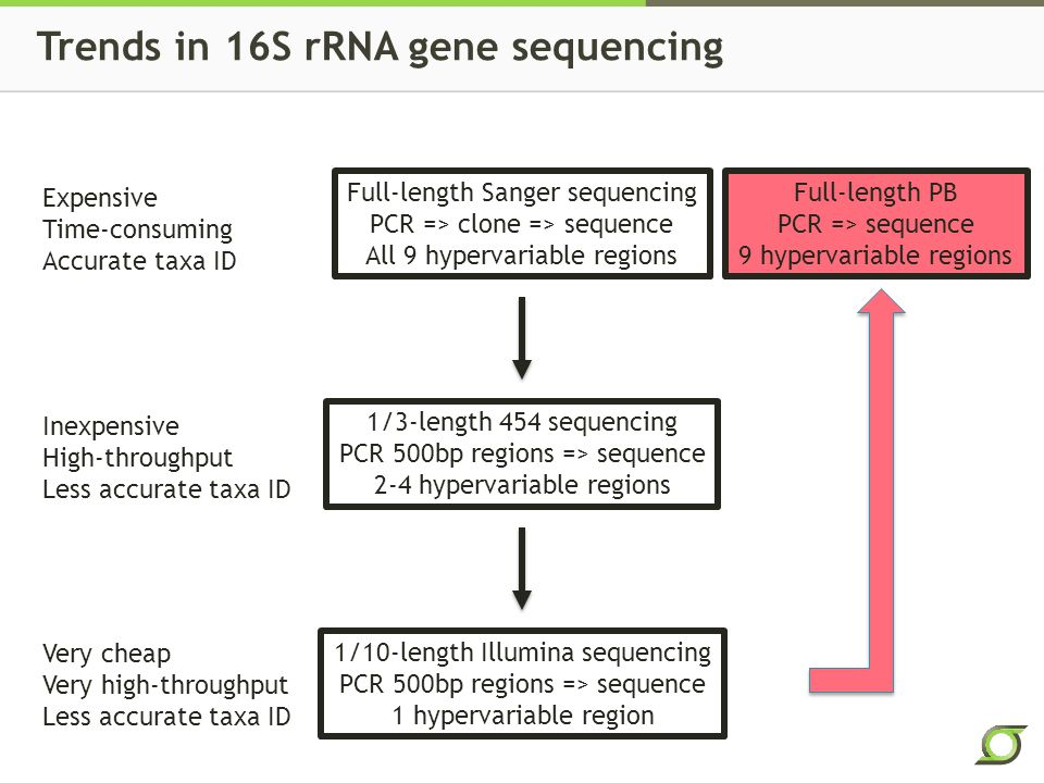 Trends in 16S rRNA gene sequencing Full-length Sanger sequencing PCR => clone => sequence All 9 hypervariable regions 1/3-length 454 sequencing PCR 500bp regions => sequence 2-4 hypervariable regions 1/10-length Illumina sequencing PCR 500bp regions => sequence 1 hypervariable region Expensive Time-consuming Accurate taxa ID Inexpensive High-throughput Less accurate taxa ID Very cheap Very high-throughput Less accurate taxa ID Full-length PB PCR => sequence 9 hypervariable regions