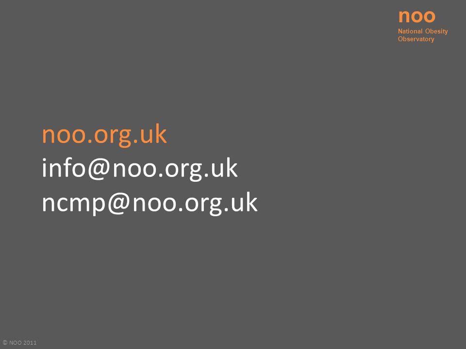 noo.org.uk info@noo.org.uk ncmp@noo.org.uk © NOO 2011 noo National Obesity Observatory