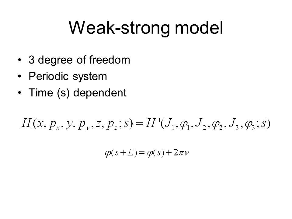 Weak-strong model 3 degree of freedom Periodic system Time (s) dependent
