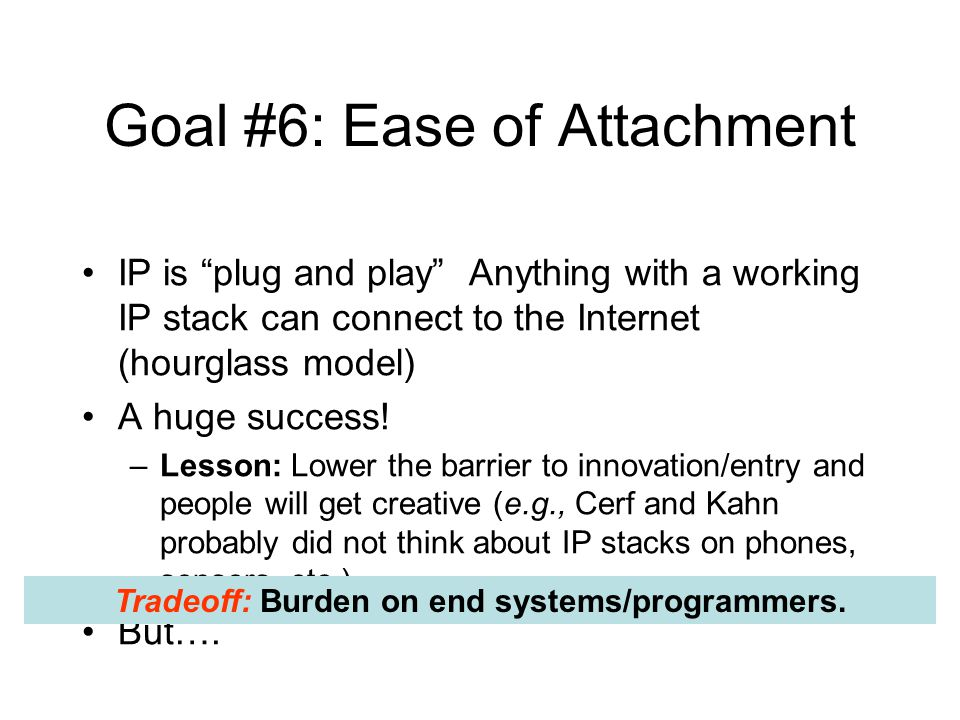 "Goal #6: Ease of Attachment IP is ""plug and play"" Anything with a working IP stack can connect to the Internet (hourglass model) A huge success! –Less"
