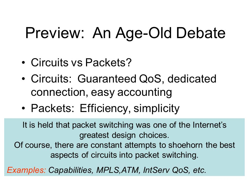 Preview: An Age-Old Debate It is held that packet switching was one of the Internet's greatest design choices.
