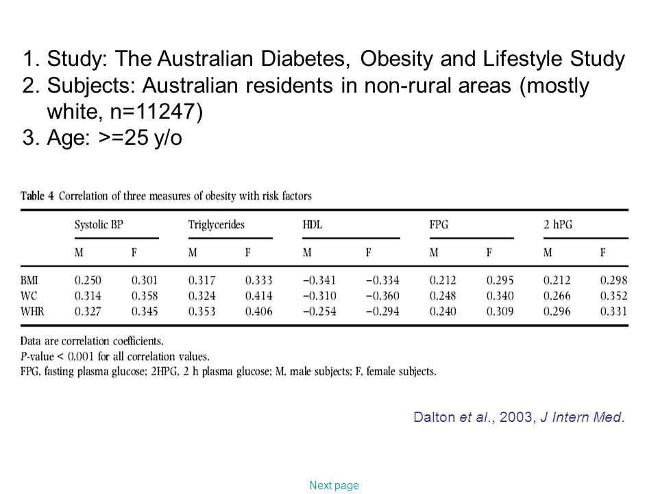 1.Study: The Australian Diabetes, Obesity and Lifestyle Study 2.Subjects: Australian residents in non-rural areas (mostly white, n=11247) 3.Age: >=25