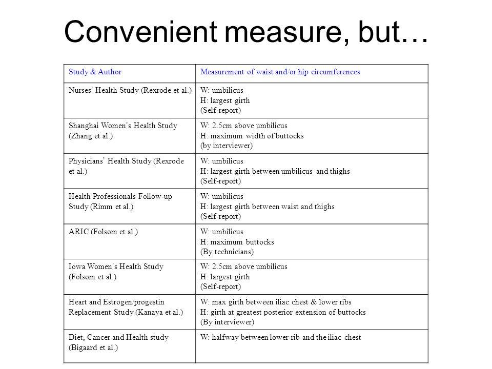 Convenient measure, but… Study & AuthorMeasurement of waist and/or hip circumferences Nurses ' Health Study (Rexrode et al.) W: umbilicus H: largest g