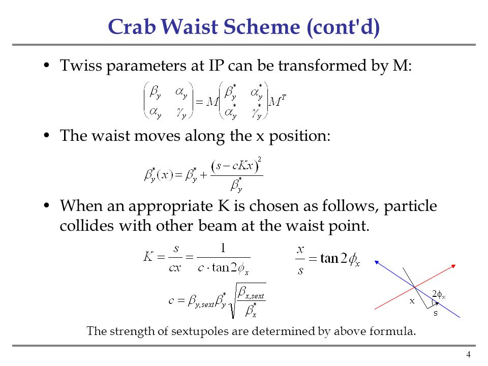 4 Crab Waist Scheme (cont d) Twiss parameters at IP can be transformed by M: The waist moves along the x position: When an appropriate K is chosen as follows, particle collides with other beam at the waist point.