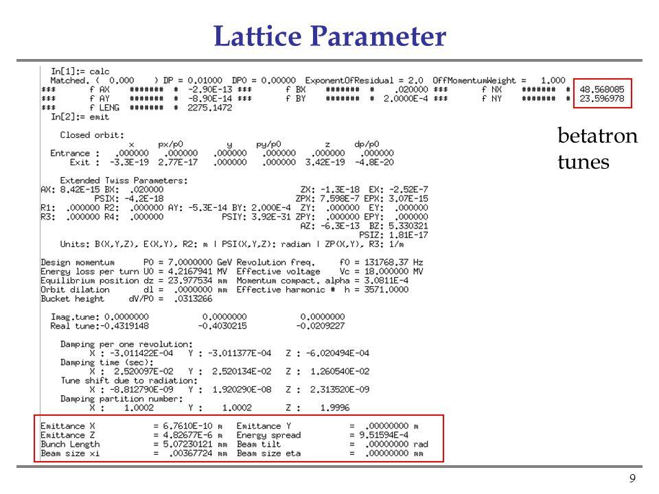 9 Lattice Parameter betatron tunes