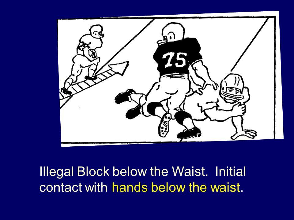 Illegal Block below the Waist. Initial contact with hands below the waist.