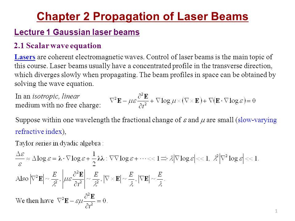 2 Lens-like (quadratic index) media: Consider a cylindrically symmetric lens-like medium n(r)n(r) Significances of lens-like media: 1) k 2 (or n 2 ) describes the inhomogeneity of the medium.