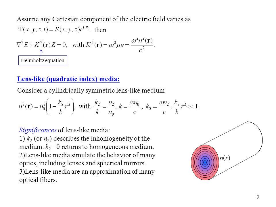 2 Lens-like (quadratic index) media: Consider a cylindrically symmetric lens-like medium n(r)n(r) Significances of lens-like media: 1) k 2 (or n 2 ) d