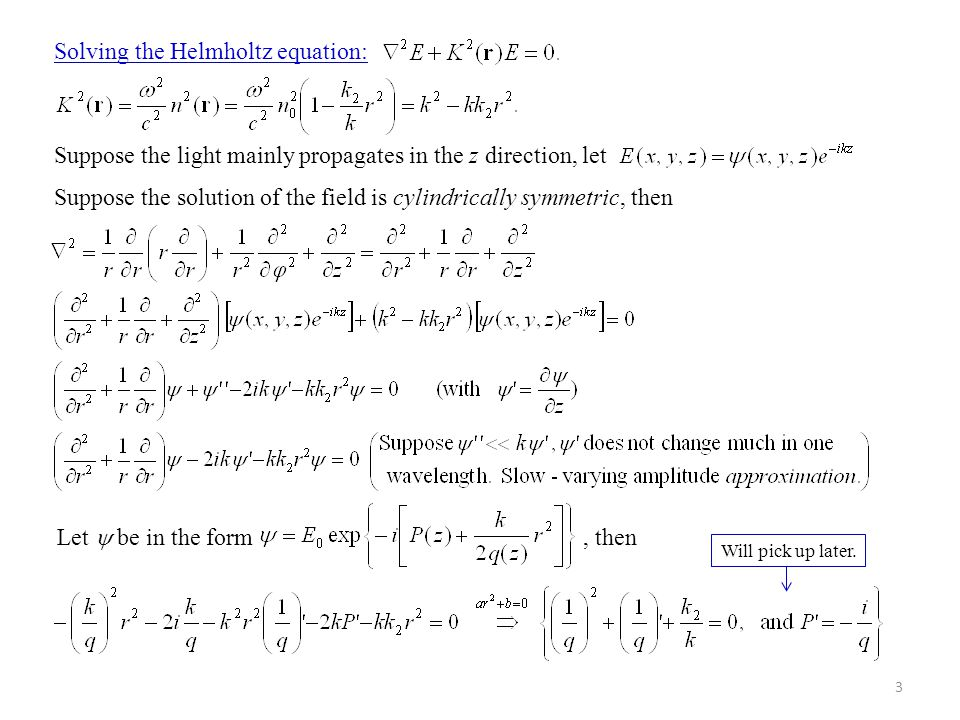 24 Applications of the ABCD law: Compare to the lens equation I) Thin lens: Importance of the ABCD law: The law enables us to trace the Gaussian beam parameter q(z) through a sequence of optical elements.