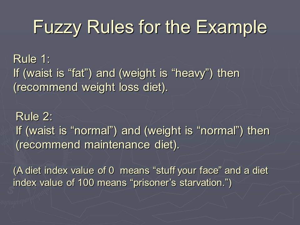 Fuzzy Rules for the Example Rule 1: If (waist is fat ) and (weight is heavy ) then (recommend weight loss diet).