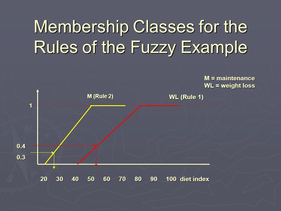 Membership Classes for the Rules of the Fuzzy Example 1 20 30 40 50 60 70 80 90 100 diet index M (Rule 2) WL (Rule 1) M = maintenance WL = weight loss